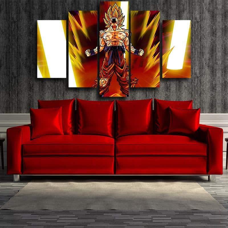Goku Super Saiyan Power Up Aura Angry Posters 5pc Canvas Prints Wall Decor
