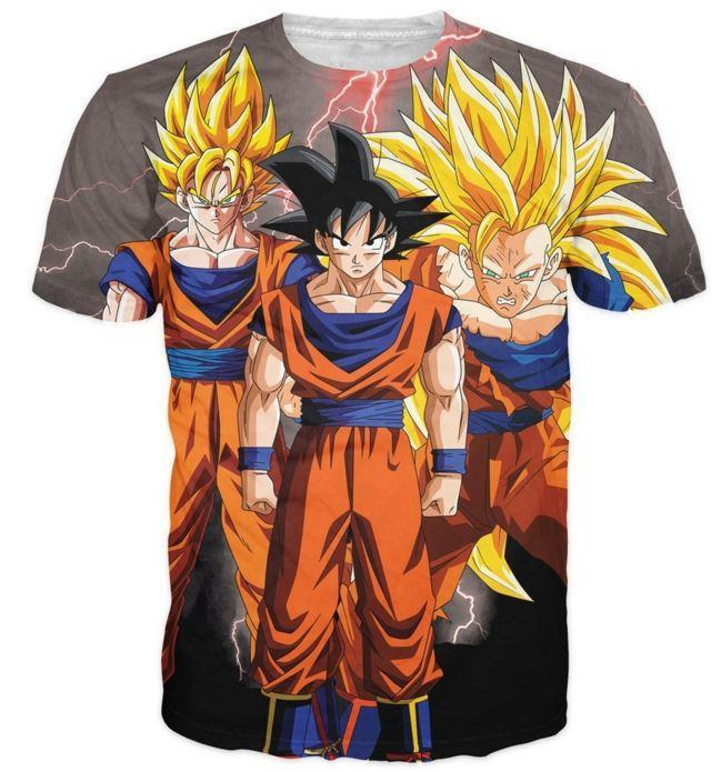 Goku Transformation Thunder Black Super Saiyan All Over Printed T-Shirt - Saiyan Stuff