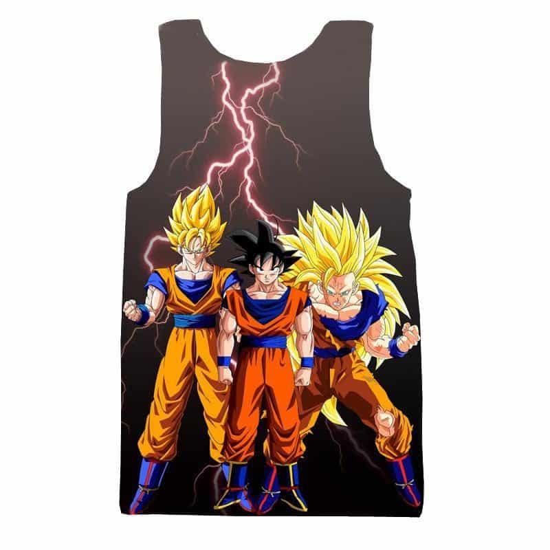 Goku Transformation Thunder Black Super Saiyan Full Print Tank Top - Saiyan Stuff