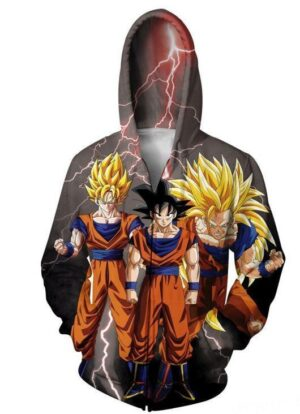 Goku Transformation Thunder Black Super Saiyan Zip Up Hoodie - Saiyan Stuff