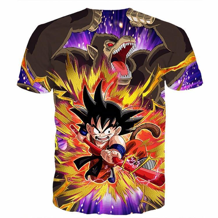 Great Ape Monkey Warrior Angry Kid Goku Fighting 3D T- Shirt - Saiyan Stuff - 2