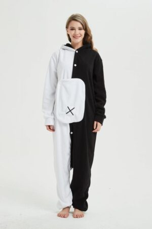 Black And White Bear Onesie Injured Eye Kigurumi Pajama