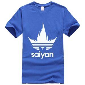 DBZ White Saiyan Adidas Parody Print Dark Blue T-Shirt