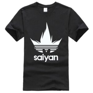 Dragon Ball Z White Saiyan Adidas Parody Black T-Shirt