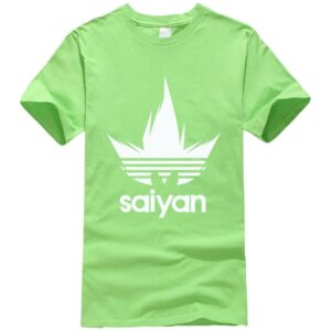 DBZ White Saiyan Adidas Parody Print Light Green T-Shirt