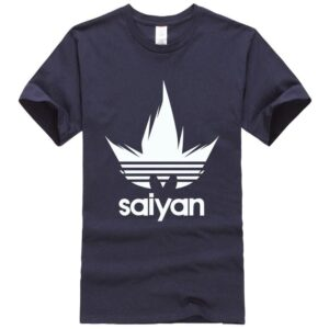 Dragon Ball Z White Saiyan Adidas Parody Navy Blue T-Shirt