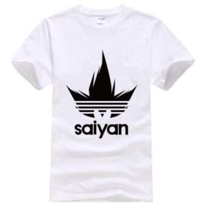Dragon Ball Z Black Saiyan Adidas Parody White T-Shirt