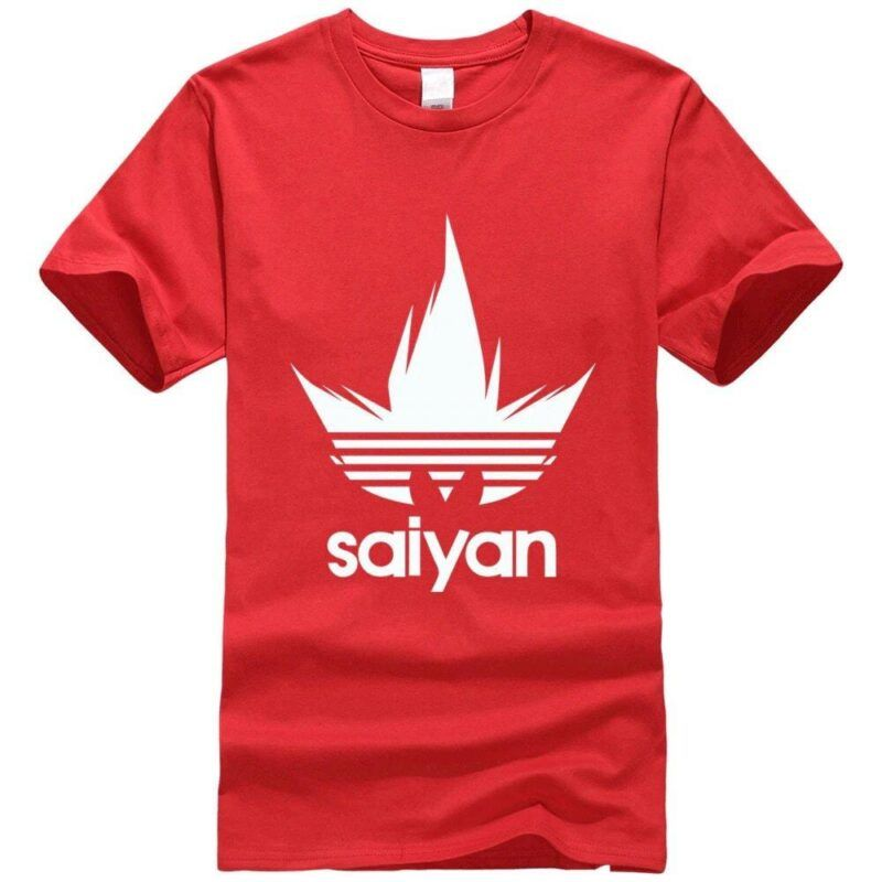 DBZ White Saiyan Adidas Parody Print Light Red T-Shirt