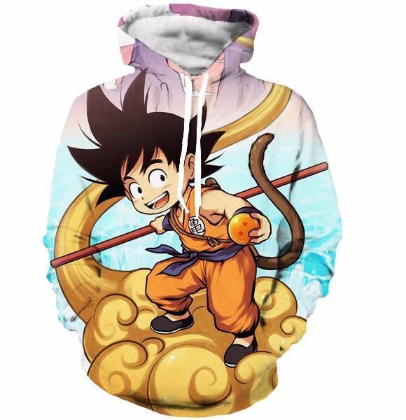 Happy Kid Goku Flying Cloud 3D Artwear Gorgeous Blue Sky 3D Hoodie - Saiyan Stuff