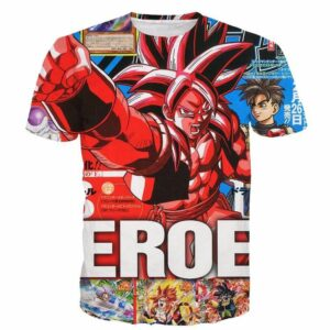 Japan Magazine Full Cover Gogeta Heroe SSJ4 Stylish 3D Shirt - Saiyan Stuff