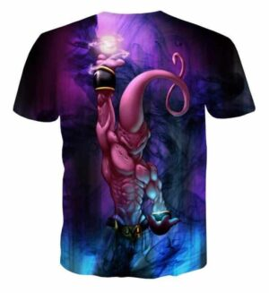 Kid Buu Spirit Ball Destruction Dark 3D Blue T-Shirt - Saiyan Stuff