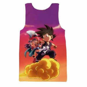 Kid Goku & Chichi Flying on Golden Cloud 3D Tank Top - Saiyan Stuff