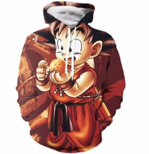 Kid Goku Dragon Ball 7 Stars Cute 3D Print Autumn Red Hoodie - Saiyan Stuff