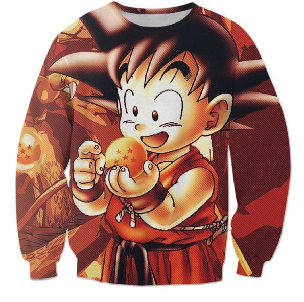 Kid Goku Dragon Ball 7 Stars Cute 3D Print Sweatshirt - Saiyan Stuff