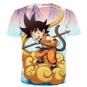 Kid Goku Flying Cloud 3D Artwear Gorgeous Blue Sky 3D T-Shirt - Saiyan Stuff