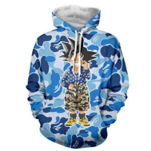 Kid Goku Hip Hop Blue Cameo Camouflage Streetwear Hoodie