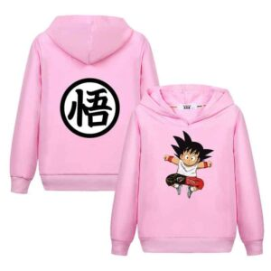 Jumping Kid Goku In His Training Suit Kids Long Sleeve Hoodie