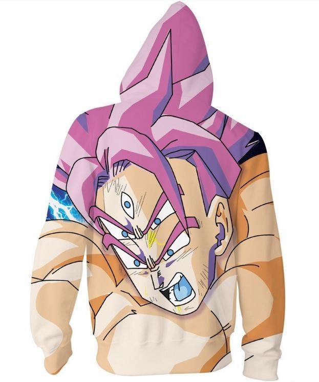 Lord Goku Super Saiyan God Purple Hair Zip Up Hoodie - Saiyan Stuff