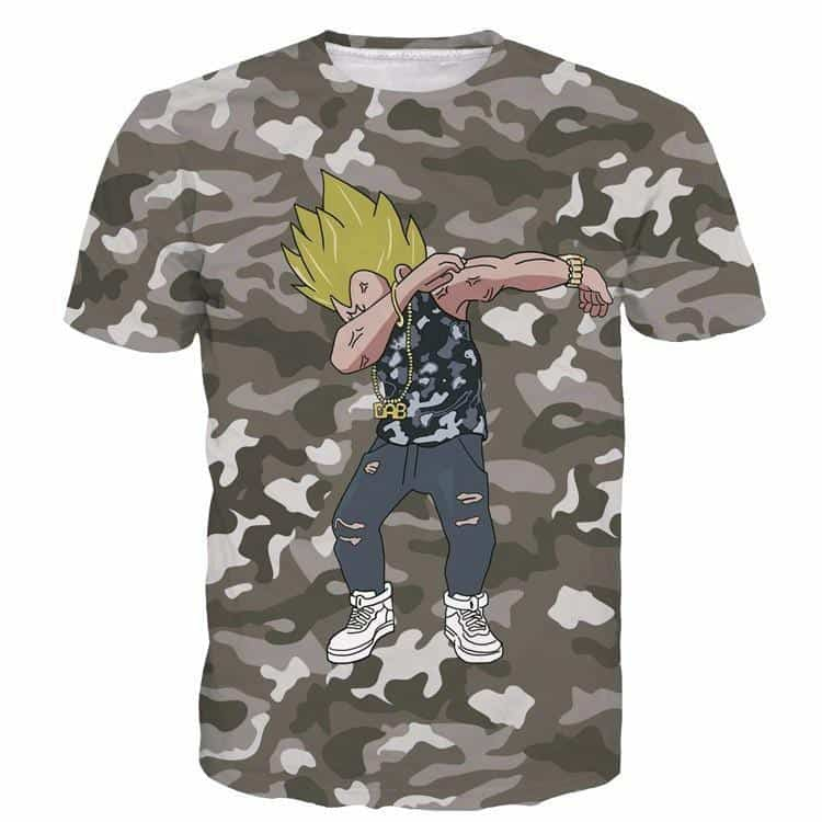Majin Vegeta Camo Military Camouflage Dab Dance Grey T- Shirt - Saiyan Stuff - 1