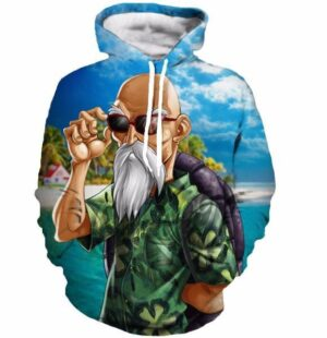 Master Roshi Beach Sea Summer 3D Blue DBZ Hipster Hoodie - Saiyan Stuff
