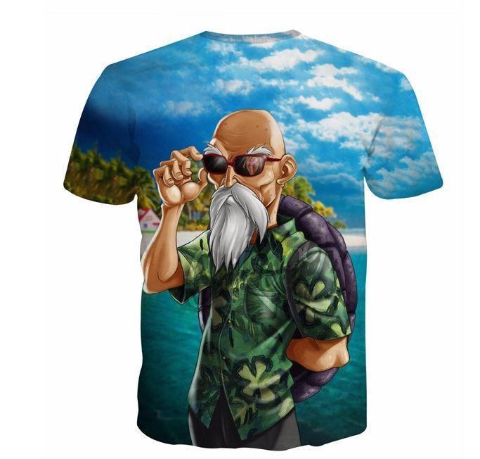 Master Roshi Beach Summer 3D Blue Hipster T-Shirt - Saiyan Stuff