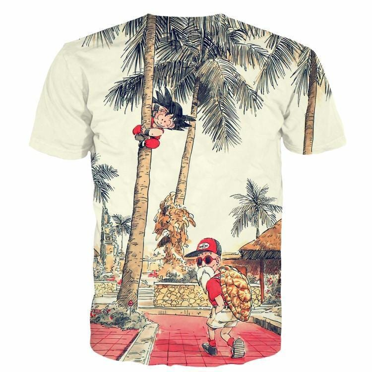 Palm Tree Cute Kid Goku Master Roshi Vintage Beige T- Shirt - Saiyan Stuff - 2