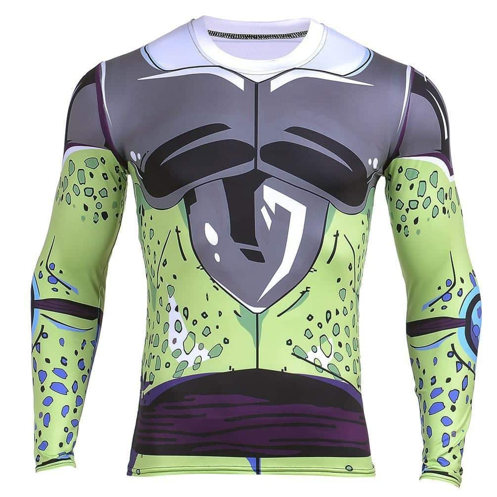 Perfect Cell DBZ Long Sleeves Skin Gear Workout Gym Compression 3D Shirt