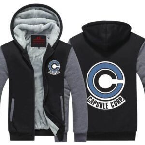 Popular Capsule Corp Logo Gray & Black Zip Up Hooded Jacket