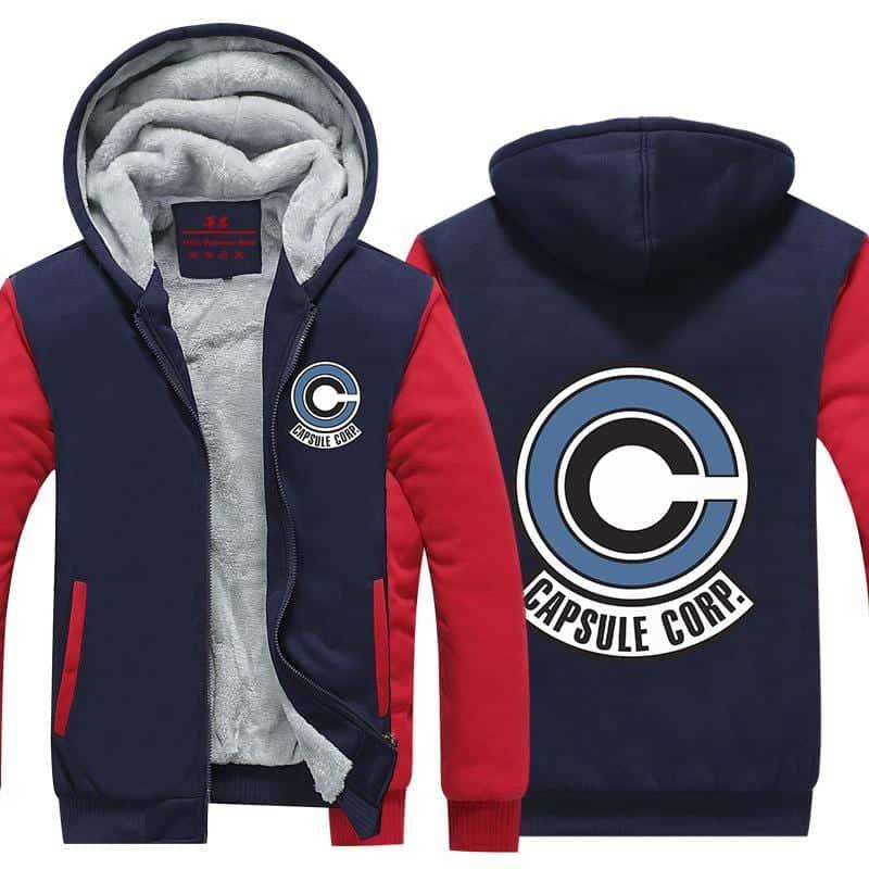 Popular Capsule Corp Logo Red & Blue Zip Up Hooded Jacket