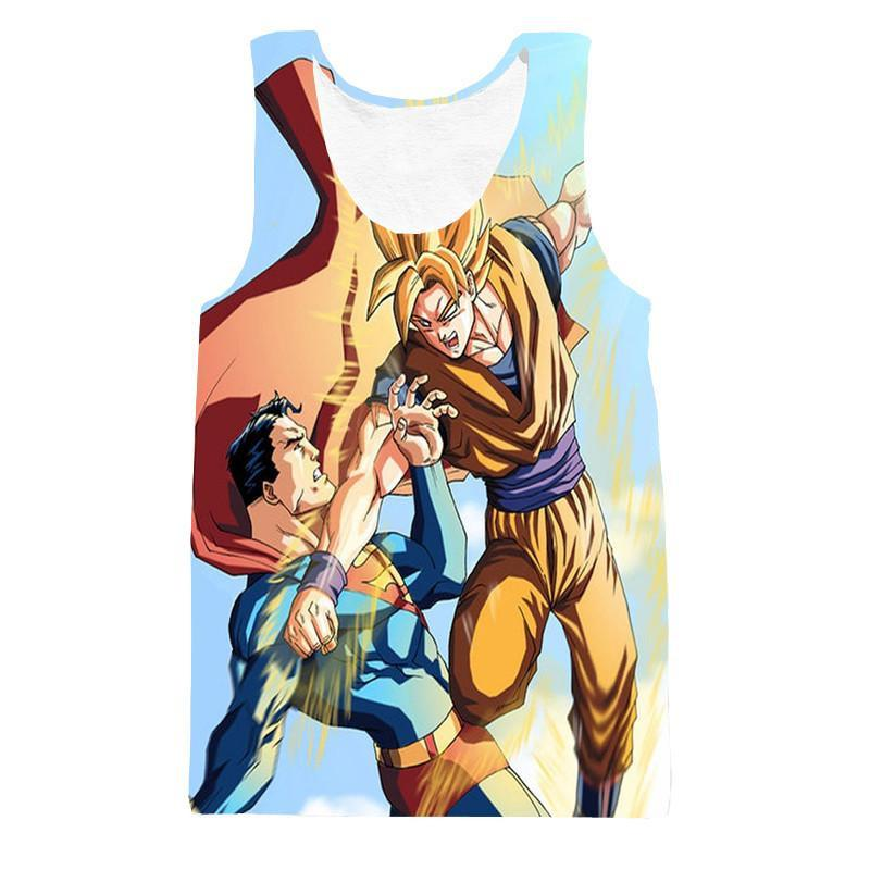 Powerful Fighter Goku Beats Superman 3D Blue Tank Top - Saiyan Stuff