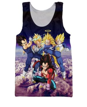 Prince Vegeta All Forms Super Saiyan Transformation 3D Tank Top - Saiyan Stuff