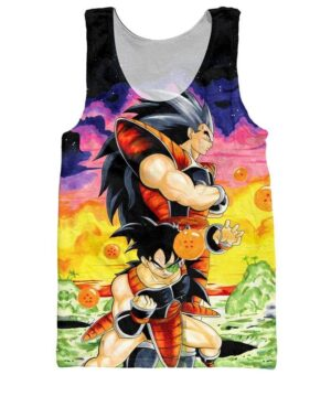 Raditz and Space Pirate Turles Saiyan Warriors Artwear 3D Tank Top - Saiyan Stuff