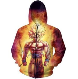 SSJ2 Son Goku Super Saiyan 2 Flame Fire 3D Hoodie - Saiyan Stuff