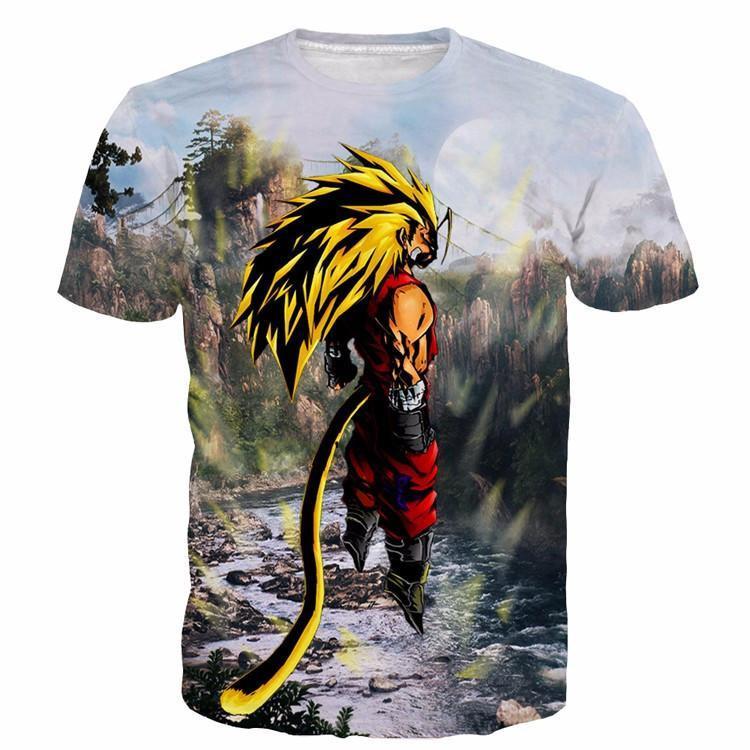 SSJ3 Goku Super Saiyan 3 River Mountain Graphic T-Shirt - Saiyan Stuff