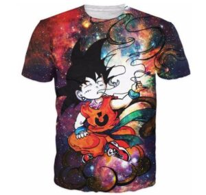 Smoking Kid Goky Outer Space Galaxy 3D Dope T-Shirt - Saiyan Stuff