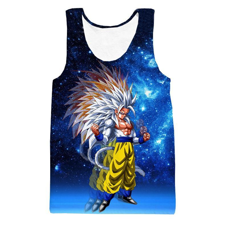 Super Saiyan 5 Goku SSJ5 Space Galaxy 3D Blue Fashion Tank Top - Saiyan Stuff