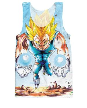 Super Saiyan Angry Majin Vegeta Blue 3D Printed Tank Top - Saiyan Stuff