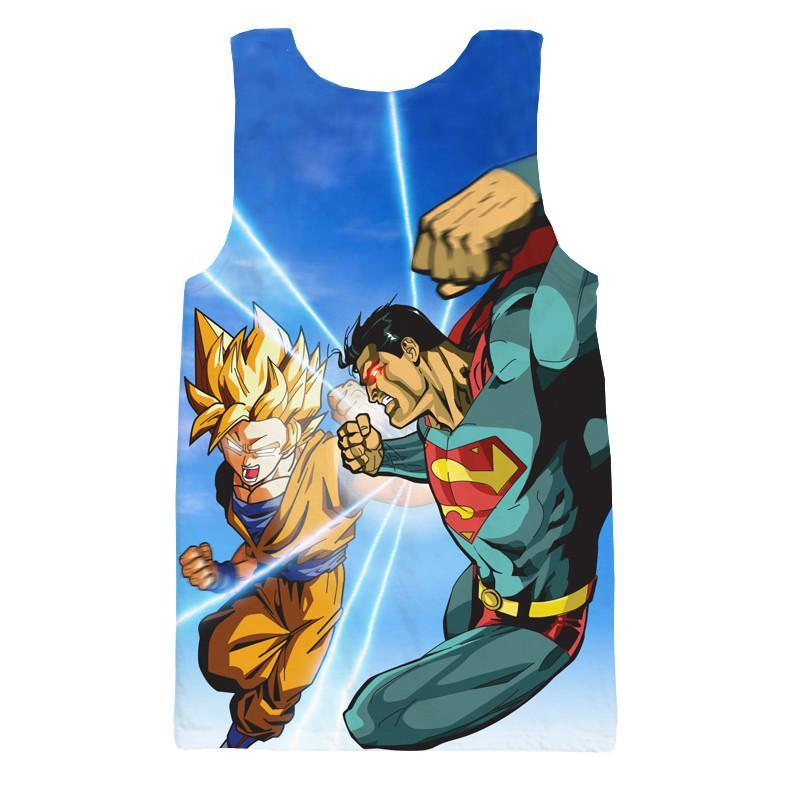 Super Saiyan Goku Versus Superman Battle 3D Tank Top - Saiyan Stuff
