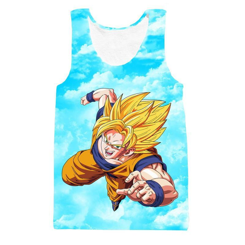 Super Saiyan Son Goku Flying in the Sky Blue Tank Top - Saiyan Stuff