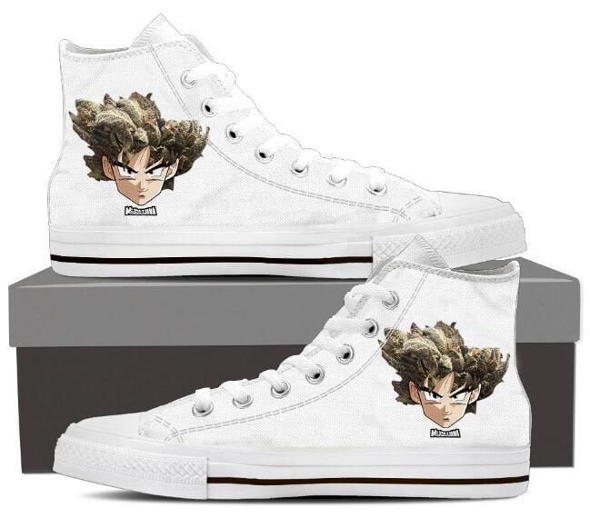 Dragon Ball Z Son Goku Weed Marijuana White Sneaker Shoes