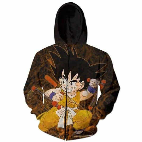 Tonfa Martial Arts Kid Goku Vintage 3D Zip Up Hoodie - Saiyan Stuff