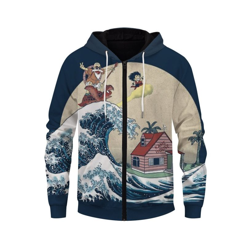 DBZ Kid Goku And Master Roshi Surfing To Kame House Zip Up Hoodie