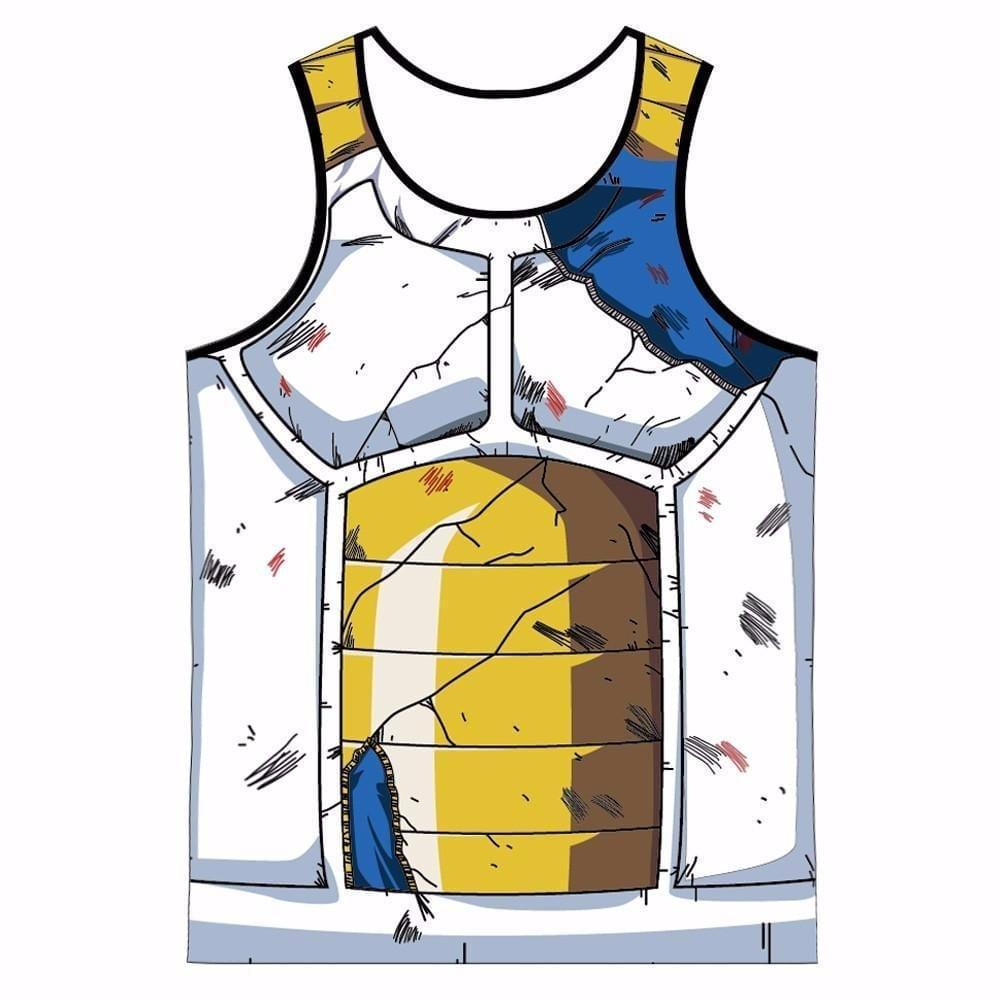 Vegeta Cell Saga Damaged Saiyan Armor Gym Tank Top