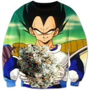 Vegeta Smokes Weed Large Marijuana Nug Crewneck Sweatshirt - Saiyan Stuff