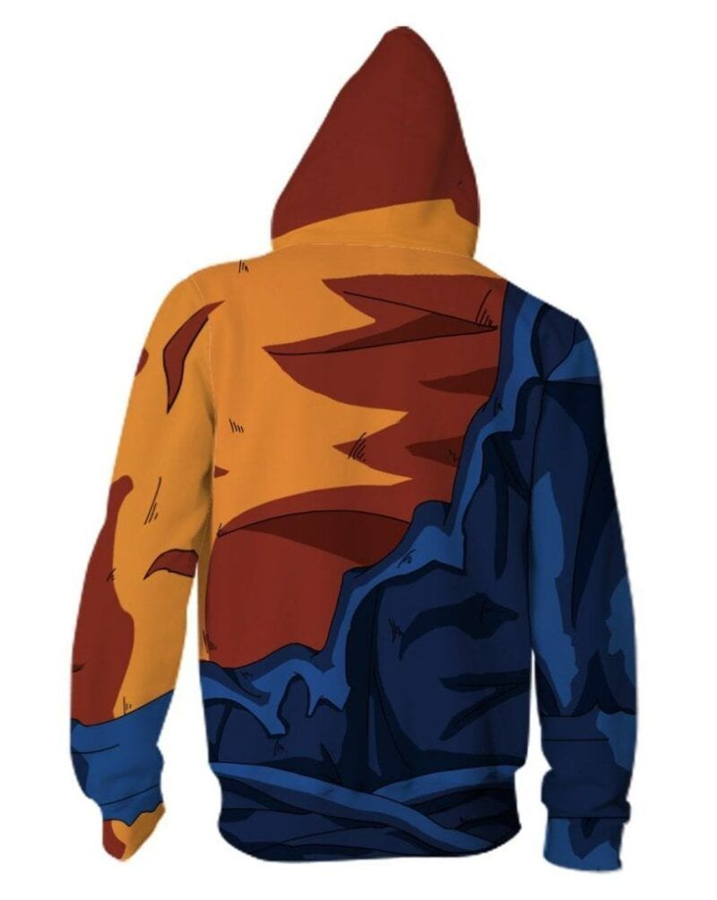 Vegito Damaged Costume Zip Up Cosplay 3D Hoodie