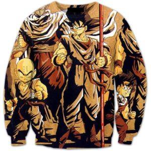 Vintage 90s Dragon Ball Z Main Characters 3D Crewneck Sweatshirt - Saiyan Stuff