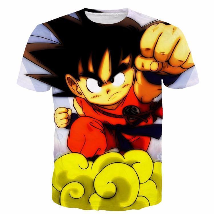 Young Goku Kid Flying Cloud Fight 3D Dragonball T- Shirt - Saiyan Stuff