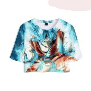Dragon Ball Z Formidable Super Saiyan Blue Goku Printed Crop Top