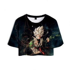 Dragon Ball Z Fearless Goku Black Prepared for Battle Printed Crop Top