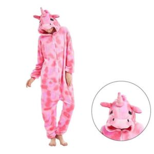 Closed Eyes Unicorn Star Onesie Pink Kigurumi Pajama